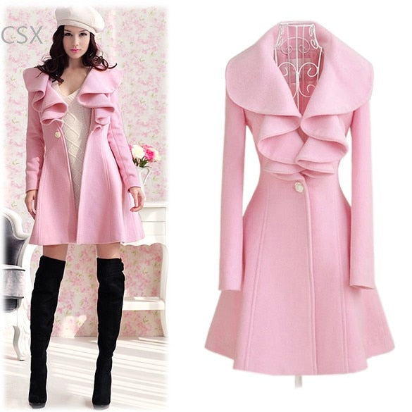 Women's Elegant Ruffles Collar Slim Fit Long Wool Trench Coat Winter Outwear Overcoat 4 Size b6