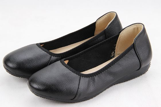 TIMETANG Fashion Genuine Leather Ballet Flat Shoes Woman Pointed Plus Solid Black Shallow Soft Office Work Pregnant Shoes Woman