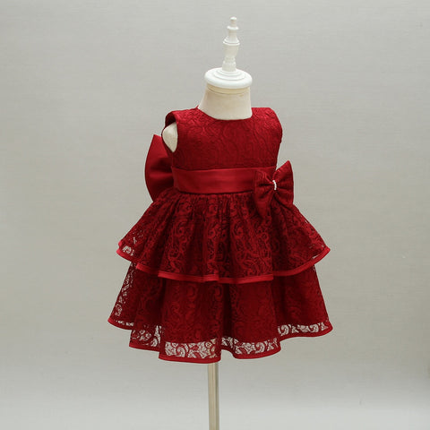 Newborn Baby Kids Girl Long Sleeve Princess Dress Party Wedding Pageant Gown