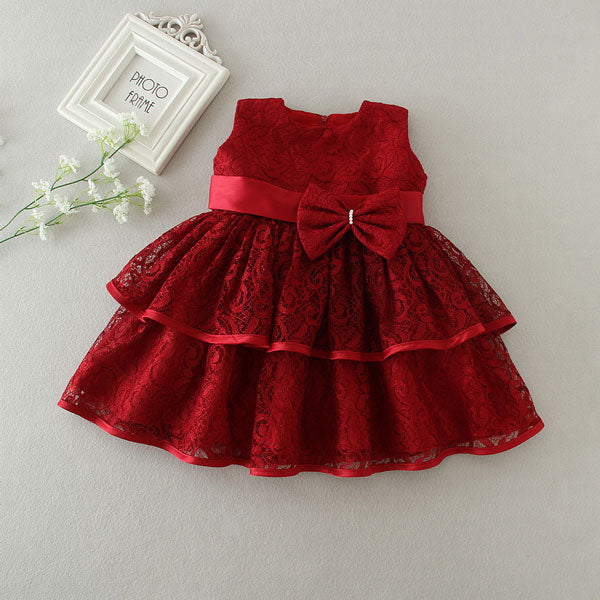 New Baby Girl Dress Hollow Lace Princess Infant Wedding Party Dresses Red White Newborn Gown Baby Girl Clothes 0 24 Month