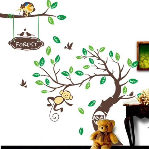 Monkey Tree Wall Art Stickers Kids Decal Removable Decor Decals Home