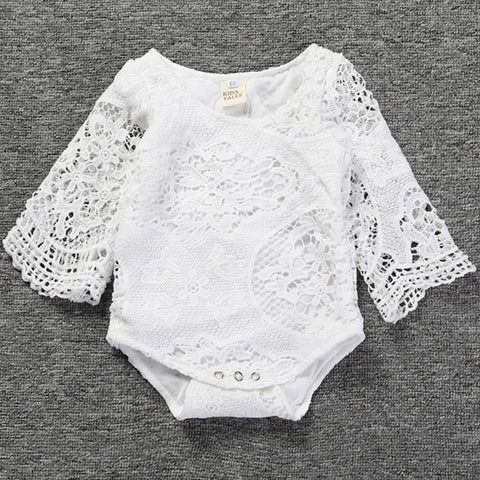 Summer Newborn baby rompers Girls Dresses Soft lace bat Sleeves One-piece Dress Clothing Baby Clothing white party rompers