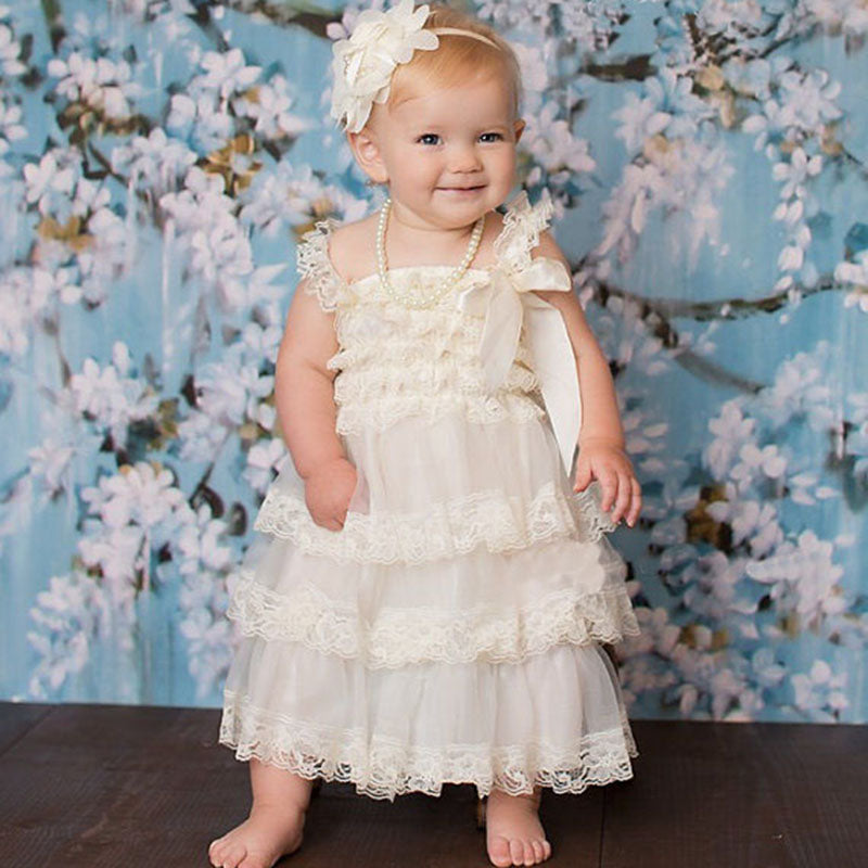 Summer New Fluffy 3 Layer Flower Baby Girl Lace Dress Newborn Baby Clothes Sleeveless Wedding Pageant Party Costumes Clothing