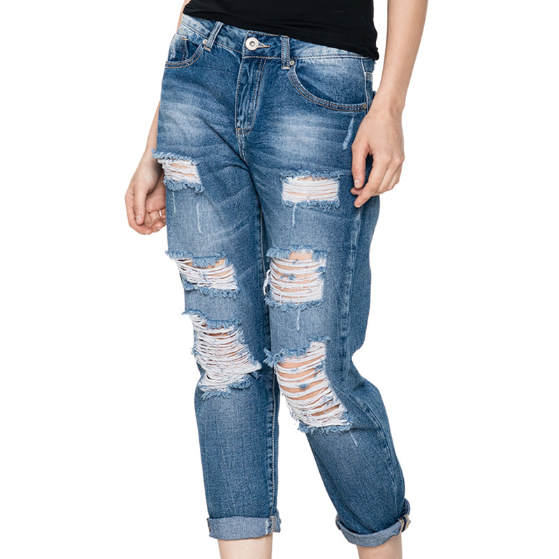 GLO-STORY High Waist Jeans Woman 2017 American Apparel Hole Women Jeans Street Style Fashion Pants Torn Denim WNK-2114