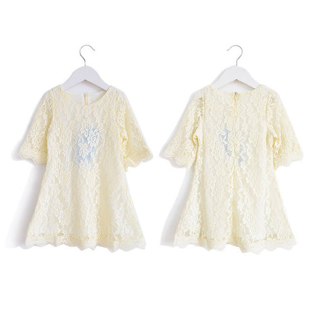 New Summer Fashion  Children Clothing Girls White Lace Dress Princess Mini Dresses Kid Clothes for teenage girl