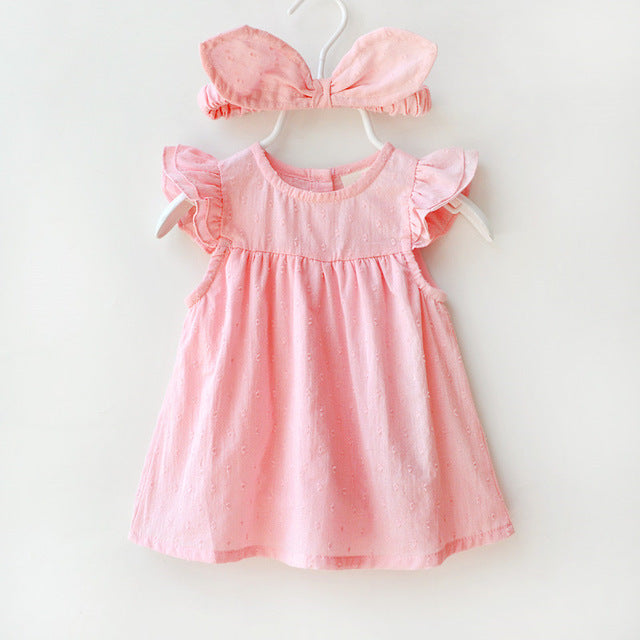 Summer Baby Girl Party Dress Cute Short Sleeve Infant Dresses Rabbits Ears Headband Princess Girls Clothing Sets Vestido