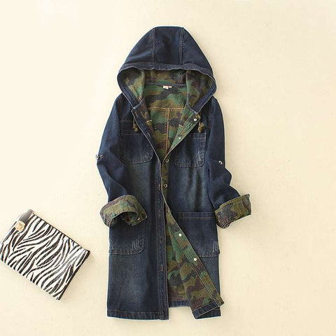 Denim jacket coat women in the long section Slim was large size women 's hooded camouflage windbreaker women' s jackets