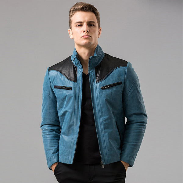 Men's Blue real leather jacket Genuine Leather jacket winter motorcycle jackets men coat biker coats