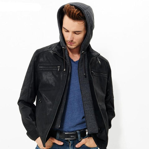 Men's real leather jacket motorcycle Genuine Leather jacket men hooded leather coat hat double closure removable