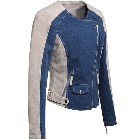 Women's real leather jacket motorcycle Genuine Leather jacket denim jacket motorcycle coat women biker jackets