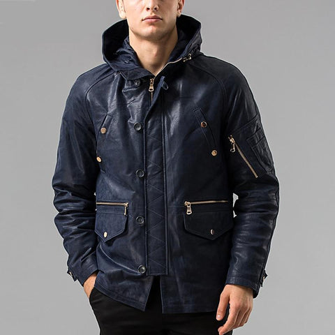 S-6XL Winter Men's real leather jacket Hooded hat Detachable Genuine Leather jacket male overcoat