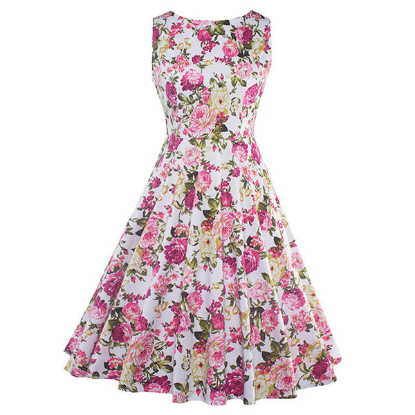 Summer Vintage Dresses Print Floral A Line O Neck 1950s Style Elegant Party Dress Patchwork Sleeveless Luxury Retro Dresses