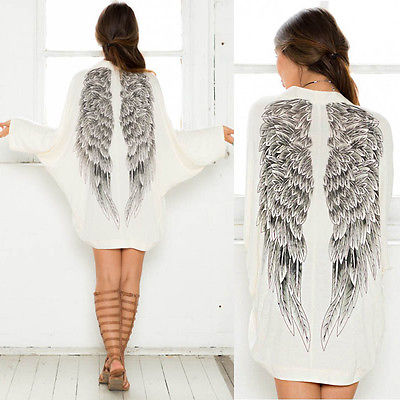 Autumn Back Angel Wings Print Womens Cardigan European Loose Batwing Sleeve Coat Jacket Female Casual Femininas Sweater