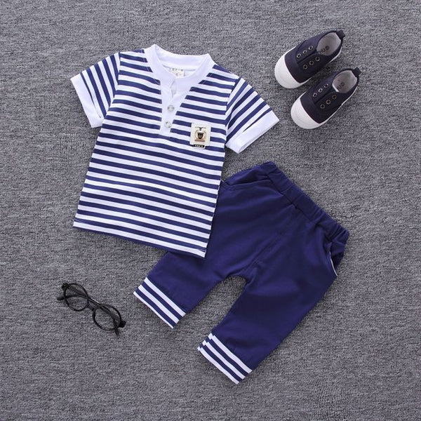 Summer new fashion baby boys clothes set cotton material with striped print infant clothing set A002