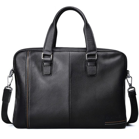 Business Men's Briefcase Genuine Cow Leather Luxury Top-Handle Bag for Male Fashion Laptop Tote Bags for Men Casual