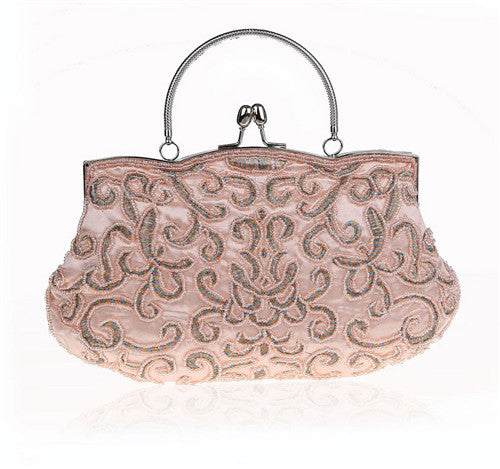 New Vintage Two Sided Beaded NEW Fashion Exquisite Beaded Evening Bag,Noble Elegant Pearl Clutch Bags WY12