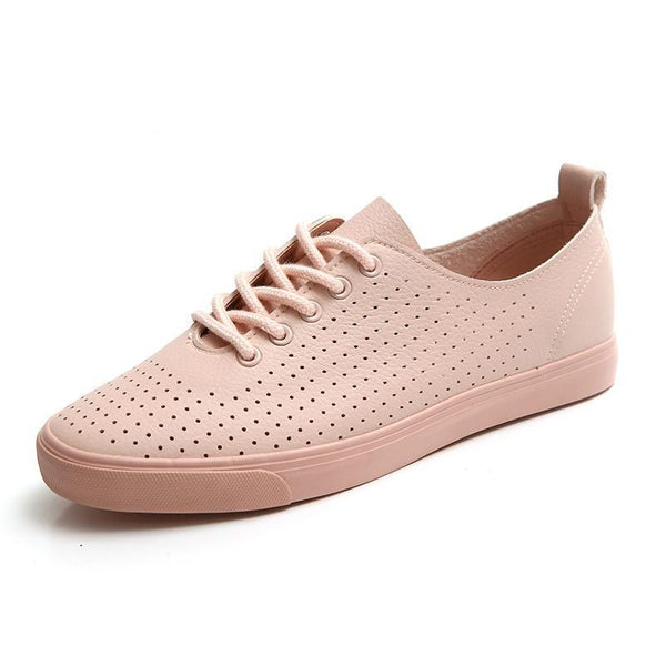 Women Shoes Spring Breathable Holes Solid Color Female White Shoes Leather Chaussure Femme Flat Heel