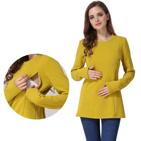 d8578471ec7 Emotion Moms New Long Sleeve Maternity Clothes COTTON winter Nursing Top Maternity  tops for Pregnant Women