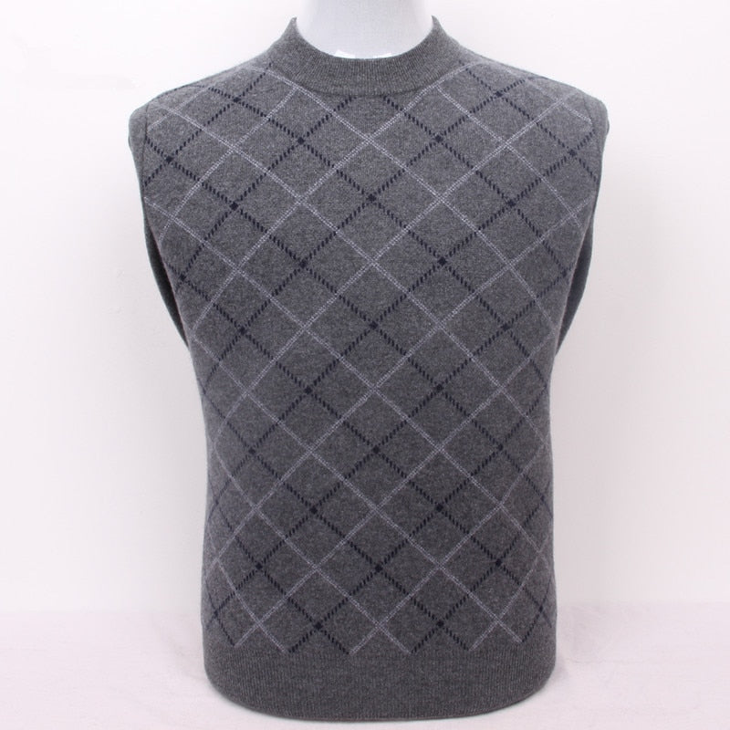 100%goat cashmere men's boutique plaid thick pullover sweater semi-high collar grey 2color S/105-3XL/130