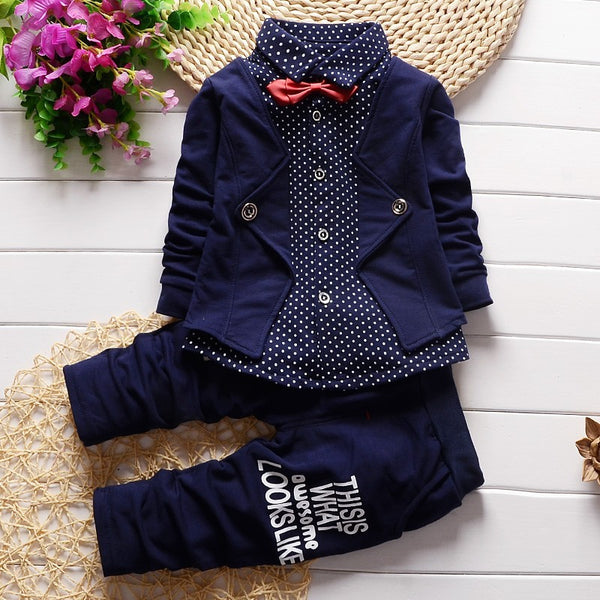 Infant Formal uniform suit Baby Boys Wedding Clothing Sets Newborn children Bow tie jacket + pants toddler clothes