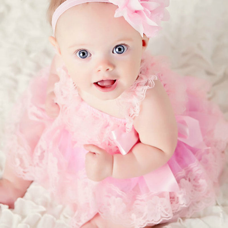 ce1e14389 Cute Baby Girl Clothing Pink Flower Girl Dresses Infant Wedding Party Dress  Lace Chiffon Dress Toddler ...