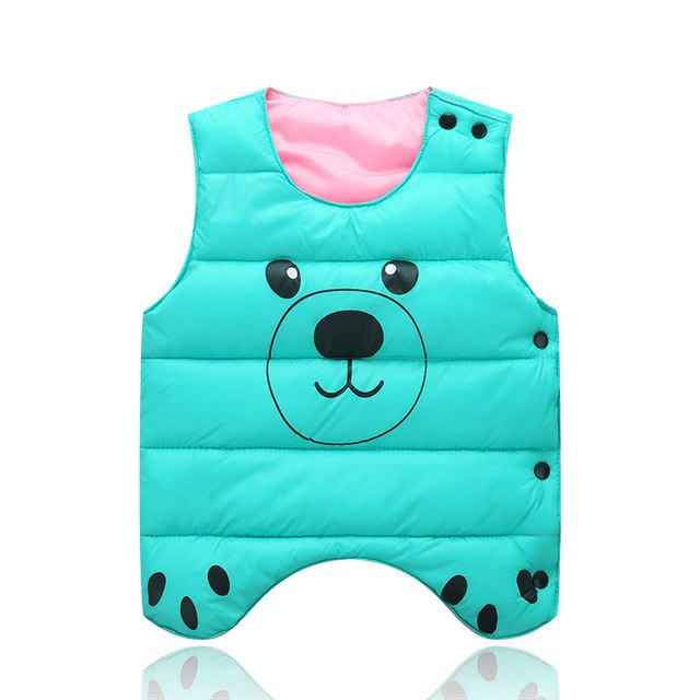 Kids Baby Girl Vest Print Pattern Cotton Outerwear Coat Boy Down Jacket Waistcoat Colete infantil Children Clothing