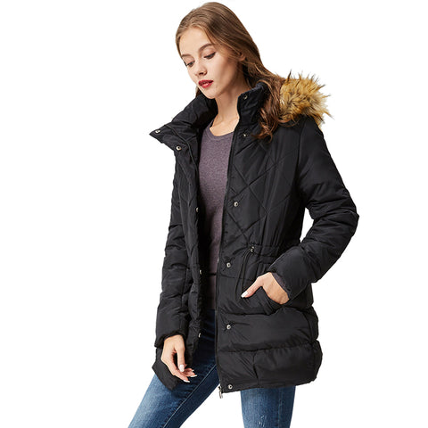 Women's Winter Black Down Jacket Coat Casual Long Women Parkas High Quality Female Hooded Winter Parka Coats WMA-3235
