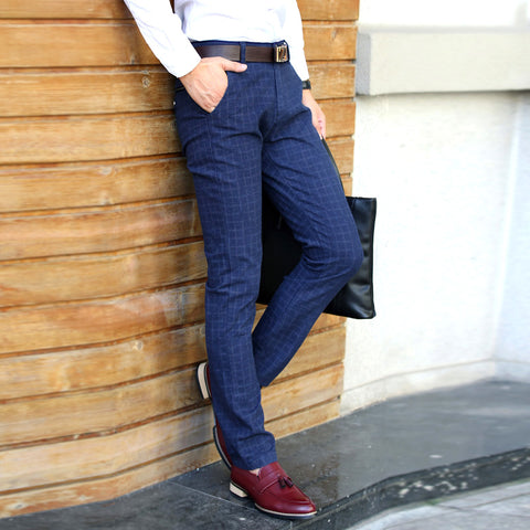 New England plaid pants and dress pants men sanding male trousers men's winter woolen Straight trousers pants