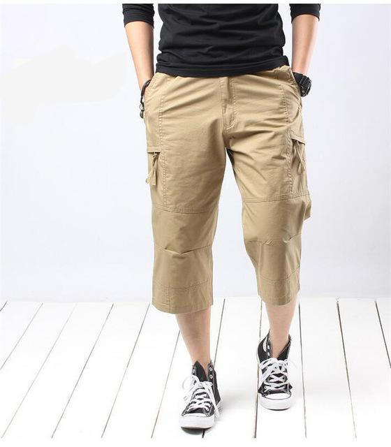 Mens Multi Pocket Trousers Loose Cotton Straight Short Pants Summer Men New Arrival Brand Big Size  Beach Shorts Pants  A3022
