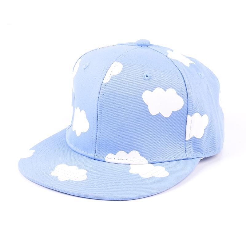 ladies hip hop hats pink and blue clouds in summer fresh and cute casual flat-brimmed hat print canvas baseball caps LQJ01038