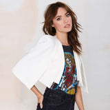 XS-XXL 6 Size Women Fashion Jacket Autumn White & Black Short Cloak Cape Blazer Female Casual Suit