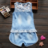 Infant toddler clothes children summer baby girls clothing sets casual 2pcs flower lace clothes sets girls summer set