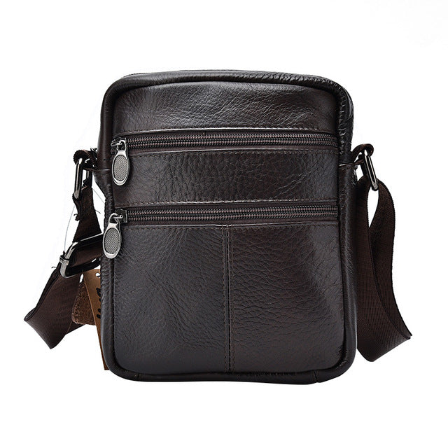 The First Layer of Cow Leather Men's Business Messenger Bags Zipper Design Solid Black Genuine Leather Shoulder Bag For Men