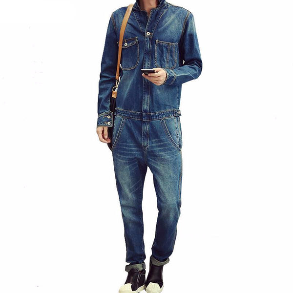Sokotoo Men's full sleeve denim overalls Casual long length jeans Jumpsuits Blue jeans