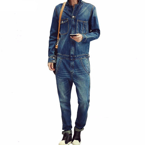 Men's full sleeve denim overalls Casual long length jeans Jumpsuits Blue jeans