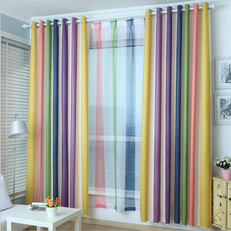 Rainbow Curtains Striped Printed Sheer Voile For Kids Girls Room