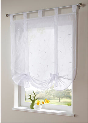 Free shipping new arrival Embroidered tab top Sheer kitchen door  window curtain patchwork liftering roman blinds