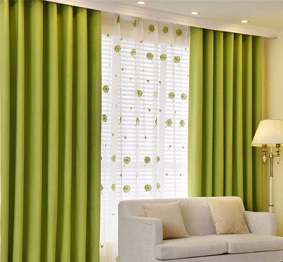 Solid Blackout Curtains For Bedroom Green Kids Curtains For Living Room  Kitchen Window Curtains Fabric Blind Drapes Cortinas
