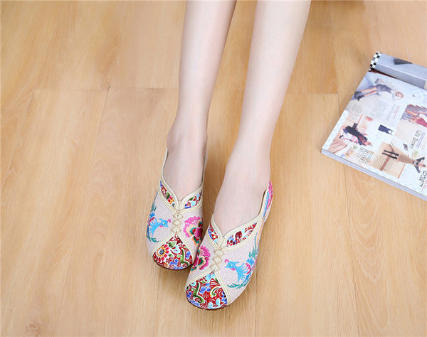 Wegogo Vintage Canvas Flats Shoes Phoenix Embroidered Shoes Comfortable Beijing Style Dance Ballerina Singles Ballet Flats