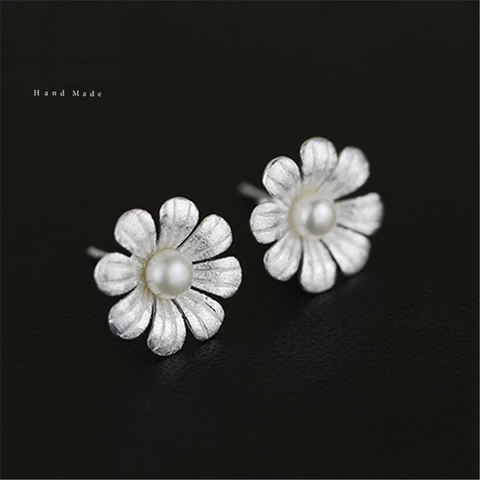 925 Sterling Silver Natural Pearl Original Handmade Fine Jewelry Bloom Flower Stud Earrings for Women Brincos