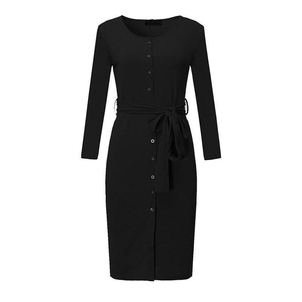 Women Knee-length Dress Autumn Sexy V Neck Long Sleeve Split Casual Pencil Knit Dress Solid Slim Plus Size Vestidos
