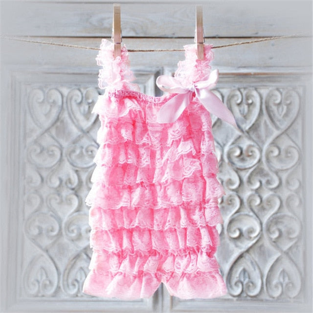 922031731f62 Baby Girls Lace Ruffled Romper Toddler Infant Jumpsuit Cake Smash Outfit  Baby 1st Birthday Outfit Photo Props