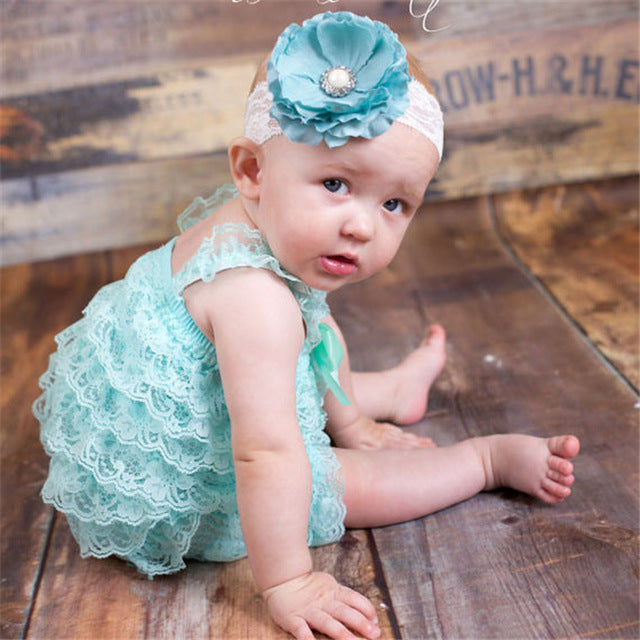6c9d6e4d81a6 ... Baby Girls Lace Ruffled Romper Toddler Infant Jumpsuit Cake Smash  Outfit Baby 1st Birthday Outfit Photo ...