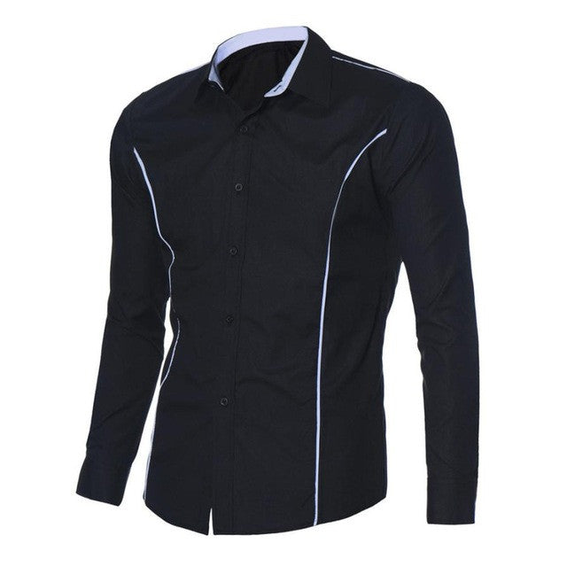 Luxury Mens Shirts Fashion Slim Fit Stylish Shirts Casual Long Sleeve Tops New