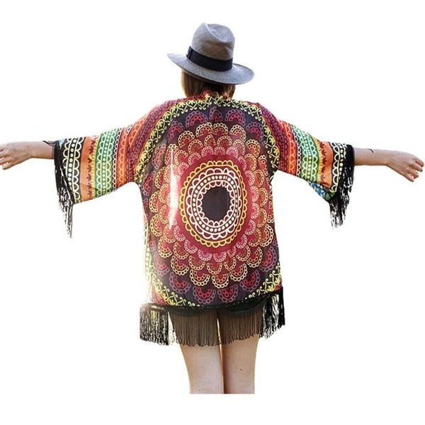 Tassel jacket women Summer Sunflowers Printed Chiffon Shawl Kimono Cardigan Tops Cover up Coat #LSN