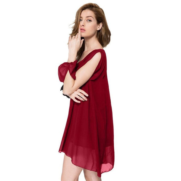 Womens Elegant Party Dresses Women Loose Red Solid Color Chiffon Wide Collar Mini Dress