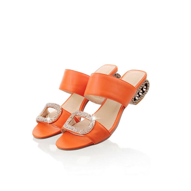 Woman's Fashion Summer Shoes Thick Heels Flip Flops Gladiator Platform Sandals Rhinestone Slides Slippers Size 34-43
