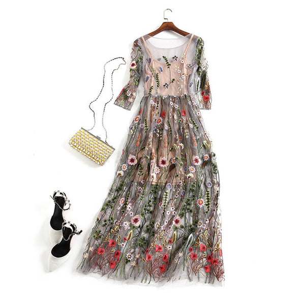 Embroidery Party Dresses Runway Floral Bohemian Flower Embroidered 2 Pieces Vintage Boho Mesh  Dresses For Women
