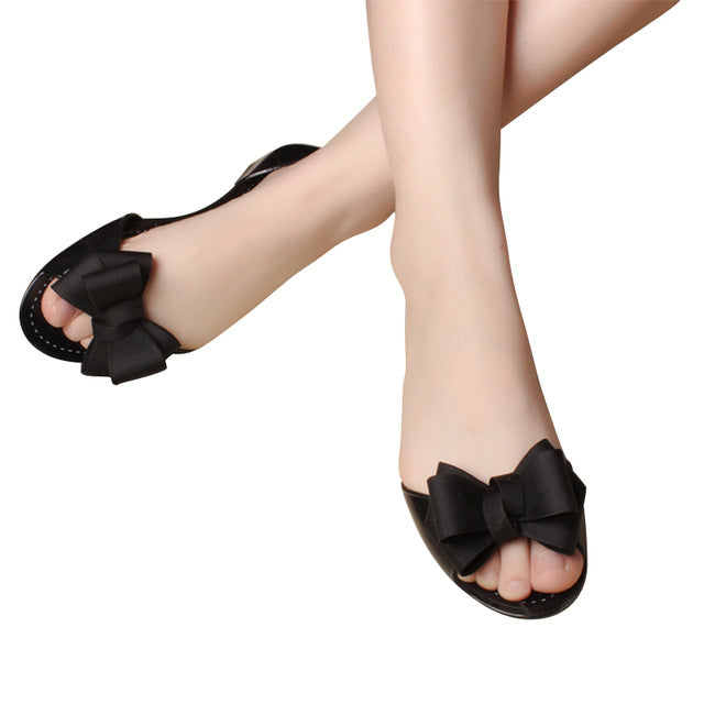cafee490cbb96 ... HEE GRAND Jelly Sandals 2017 New Beach Jelly Shoes Woman Hot Summer  Butterfly-knot Slip ...