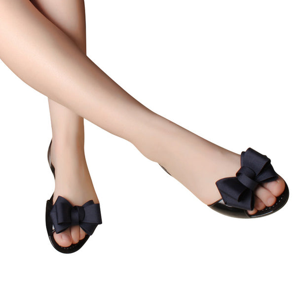 Jelly Sandals New Beach Jelly Shoes Woman Hot Summer Butterfly-knot Slip On Flats Casual Women Shoes XWZ3344